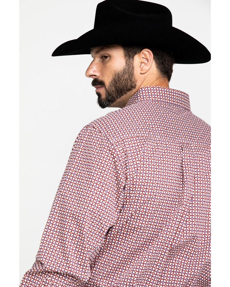 Wrangler 20X Men's Performance Geo Print Long Sleeve Western Shirt , Burgundy, hi-res