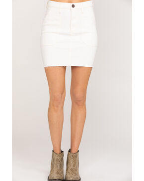 Wrangler Women's Modern Ivory Denim Raw hem Mini Skirt, Ivory, hi-res