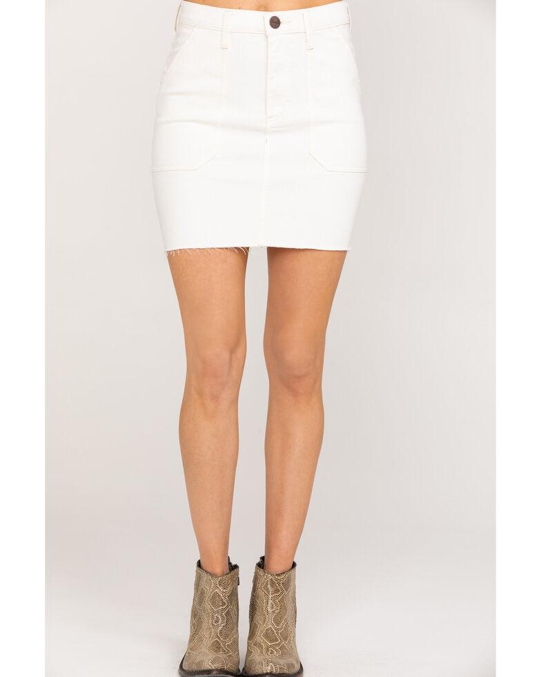 Wrangler Women's Modern Ivory Denim Raw hem Mini Skirt, Ivory, hi-res