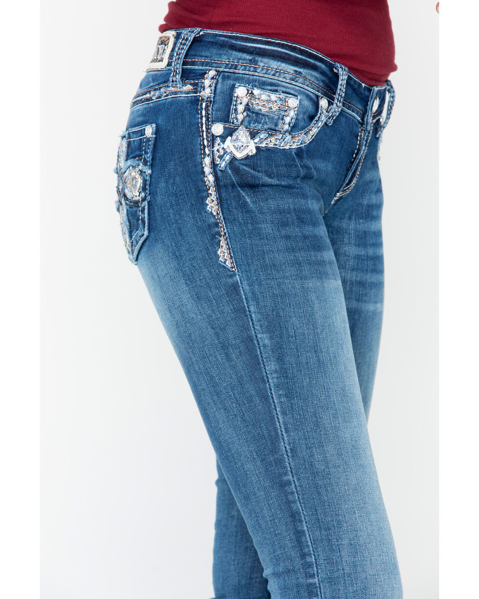 Grace In LA Embroidered Cross Boot Jeans , , hi-res
