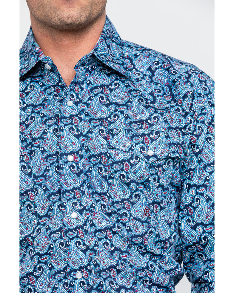 Roper Men's Amarillo Paisley Print Long Sleeve Western Shirt , Blue, hi-res