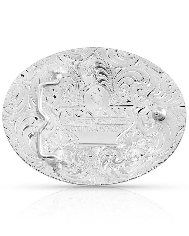 Montana Silversmiths Men's Tri-Color Pinched Buckle With Christian Cowboy Figure, Silver, hi-res