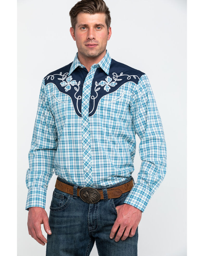 Roper Men's Small Fancy Plaid Long Sleeve Western Shirt , Blue, hi-res
