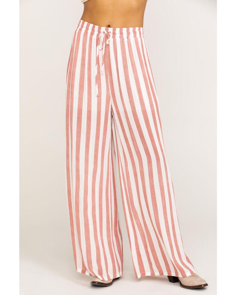 Rock & Roll Cowgirl Women's Stripe Wide Leg Pants, Red, hi-res