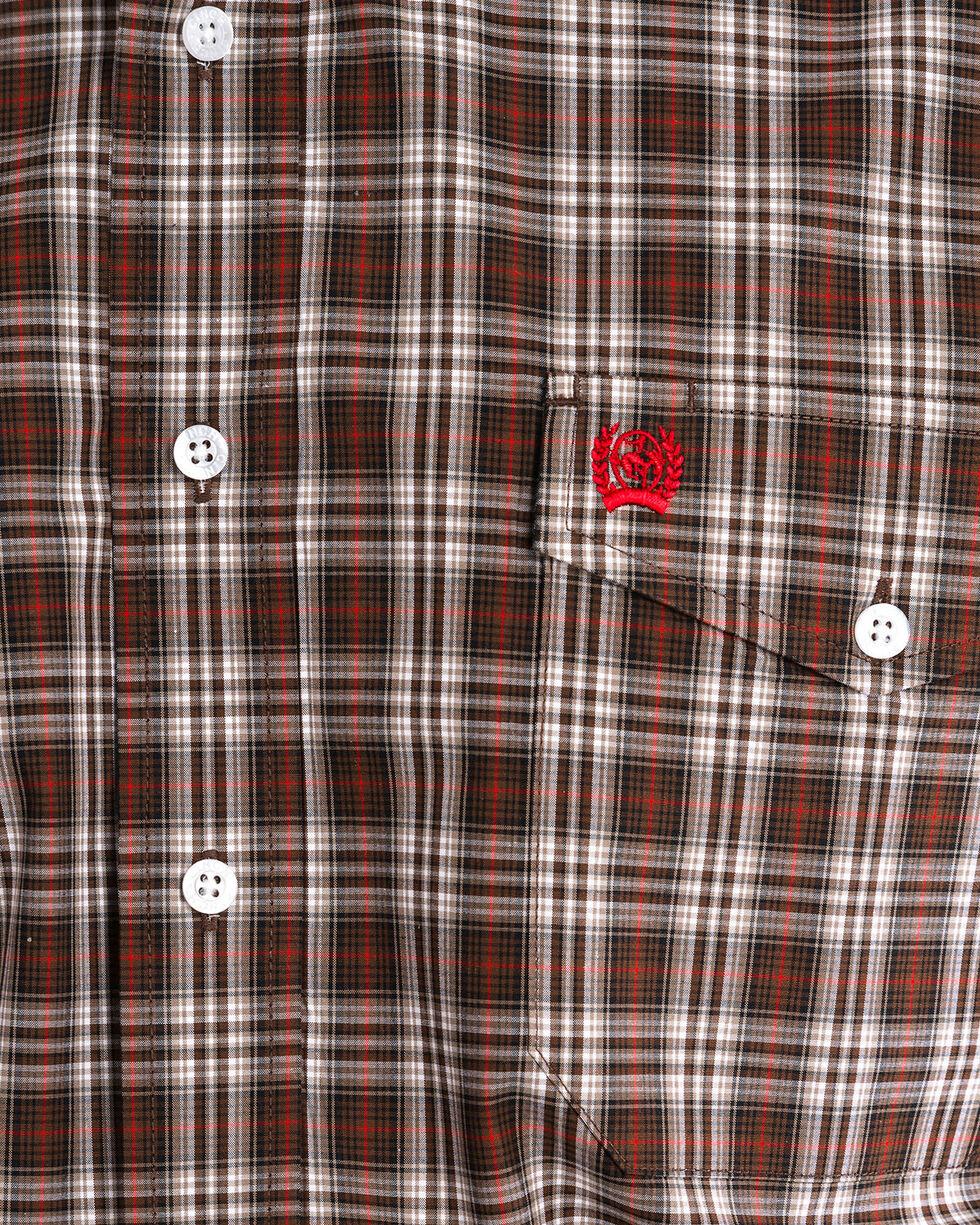 Cinch Men's Brown Plaid Double Pocket Long Sleeve Shirt, Brown, hi-res