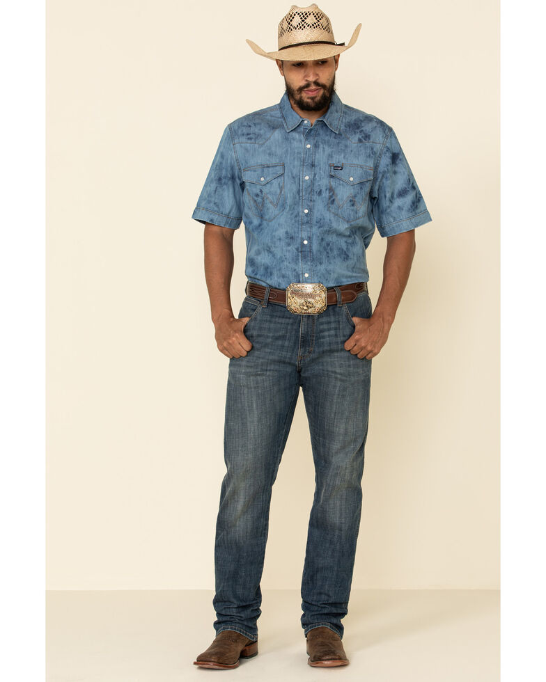 Wrangler Men's Indigo Washed Denim Short Sleeve Western Shirt , Indigo, hi-res