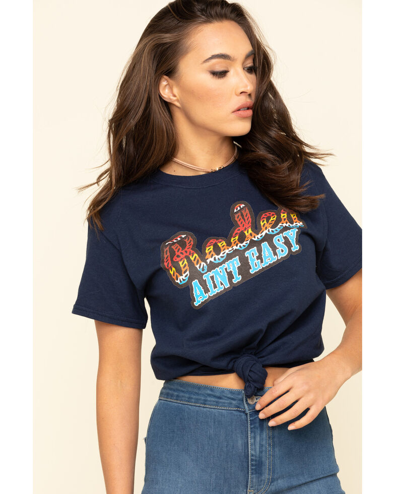 Ranch Dress'n Women's Navy Rodeo Ain't Easy Tee , Navy, hi-res