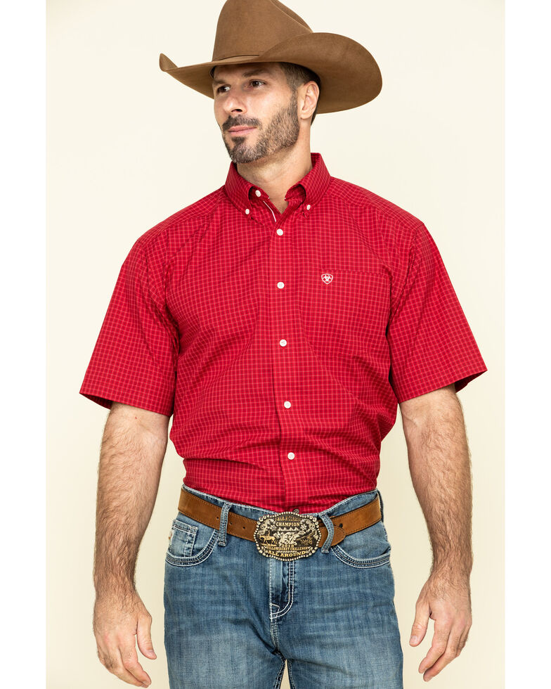 Ariat Men's Tamalpais Small Plaid Short Sleeve Western Shirt - Tall , Red, hi-res