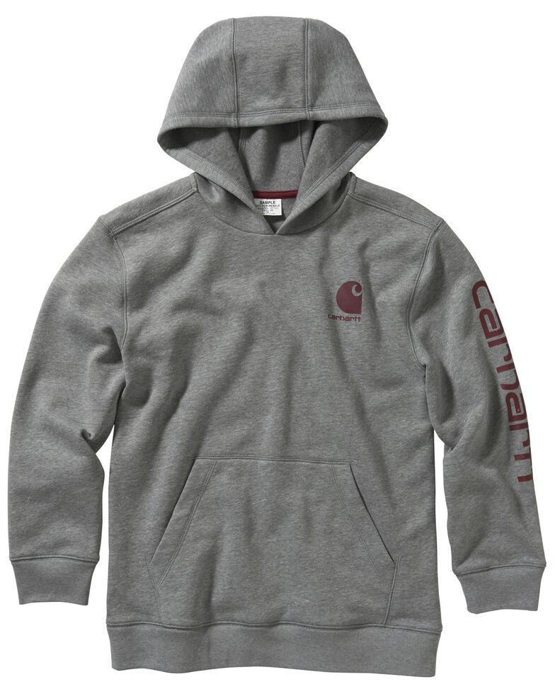 Carhartt Boys' Heather Grey Fleece Sleeve Logo Hooded Sweatshirt , Grey, hi-res