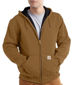 Carhartt Rain Defender Rutland Thermal-Lined Hooded Zip-Front Jacket, Brown, hi-res