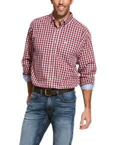 Ariat Men's Wahlman Small Plaid Wrinkle Free Long Sleeve Western Shirt , Pink, hi-res