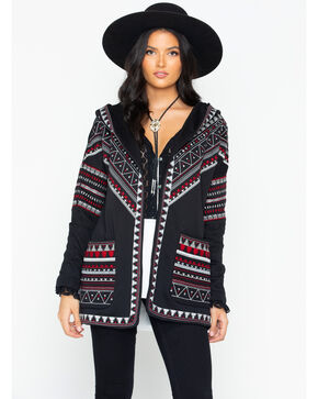 Tasha Polizzi Women's Aurora Aztec Embroidered Open Hoodie, Black, hi-res