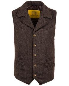 STS Ranchwear Men's Brown Wool Gambler Vest - Big , Brown, hi-res