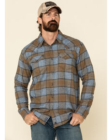 Moonshine Spirit Men's El Arbol Large Plaid Long Sleeve Western Flannel Shirt , Blue, hi-res