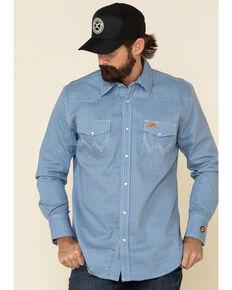 Wrangler FR Men's Blue Small Geo Print Long Sleeve Work Shirt - Big , Blue, hi-res