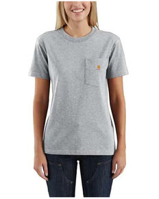 Carhartt Women's Graystone Heather Pocket Short Sleeve Work T-Shirt, Heather Grey, hi-res