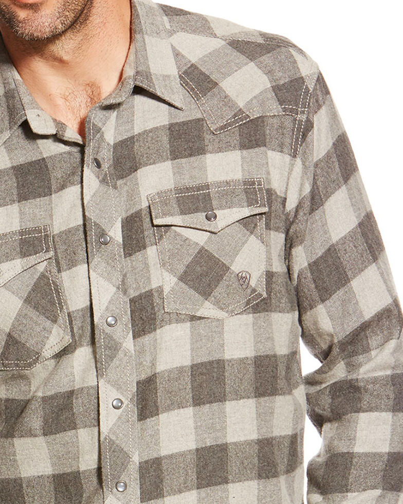 Ariat Men's Natoma Long Sleeve Flannel Shirt, Grey, hi-res