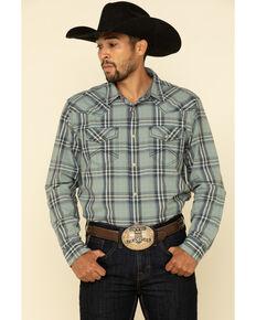 Cody James Men's Thunderstruck Plaid Long Sleeve Western Shirt , Light Blue, hi-res