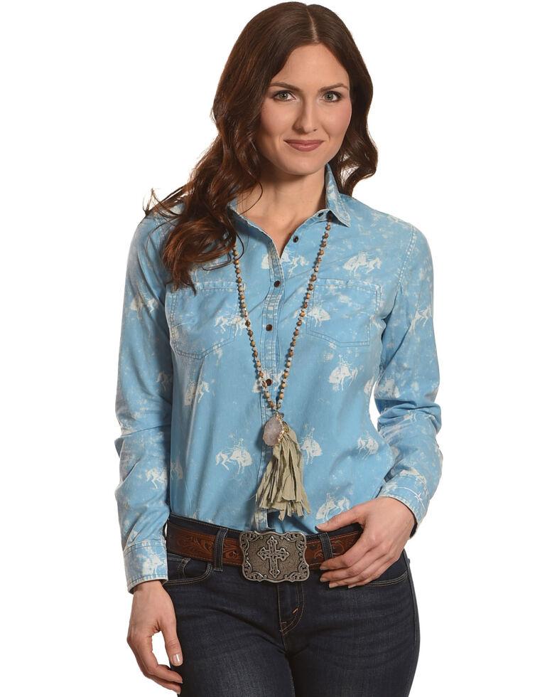 Ryan Michael Women's Cornflower Bucking Horse Print Shirt , Blue, hi-res