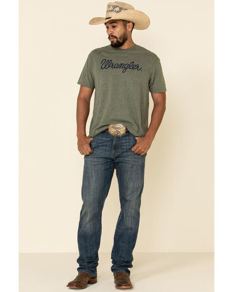 Wrangler Men's Sage Cursive Logo Graphic Short Sleeve T-Shirt , Green, hi-res