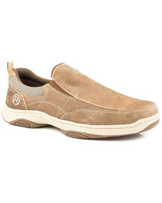 Roper Men's Owen Slip-On Shoes - Round Toe, Brown, hi-res