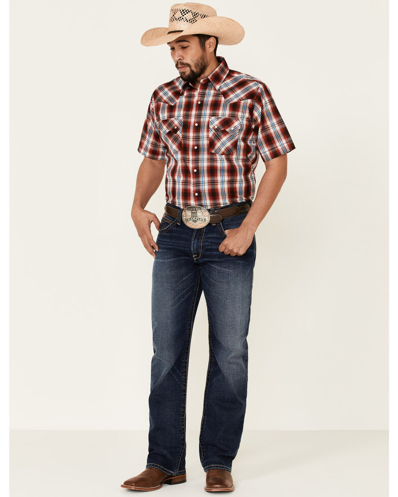 Ely Walker Men's Assorted Large Plaid Short Sleeve Snap Western Shirt , Red, hi-res