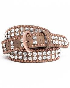 Shyanne Women's Crystal Studded Belt, Brown, hi-res