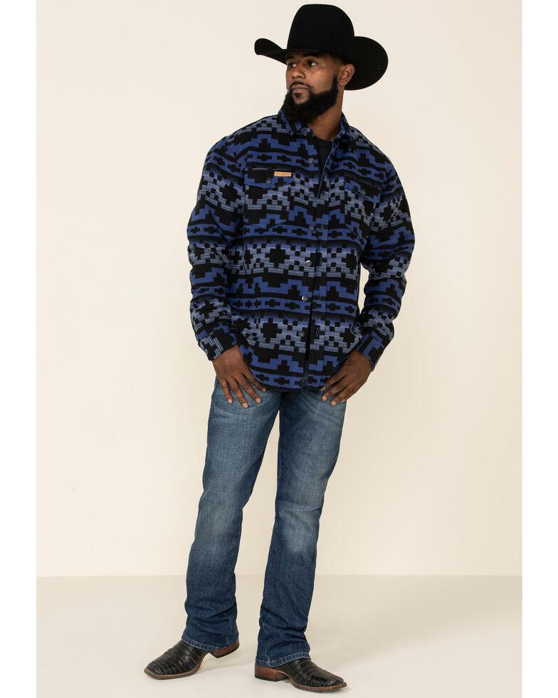 Powder River Outfitters Men's Navy Aztec Print Jacquard Shirt Jacket , Navy, hi-res