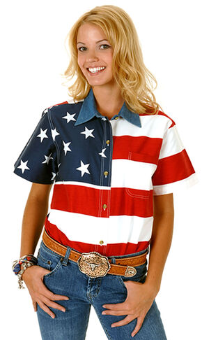 Roper Women's Short Sleeve American Flag Shirt, Patriotic, hi-res