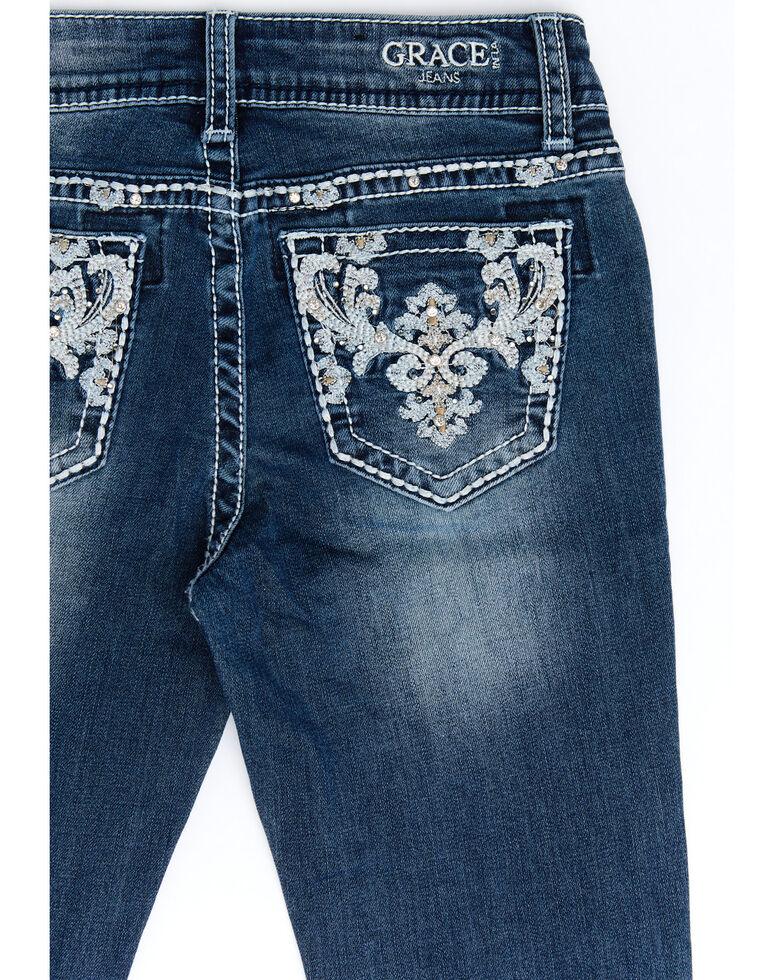 Grace In LA Girls' Dark Fleur De Lis Embellished Bootcut Jeans, Blue, hi-res