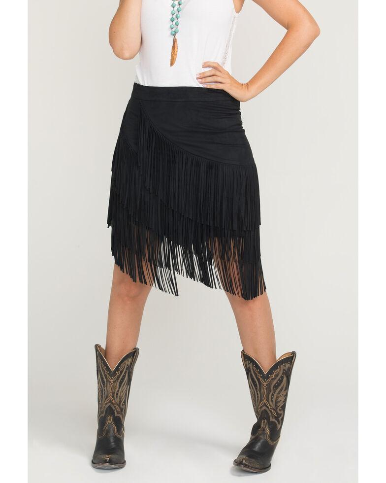 Idyllwind Women's Spellbound Fringe Skirt, Black, hi-res