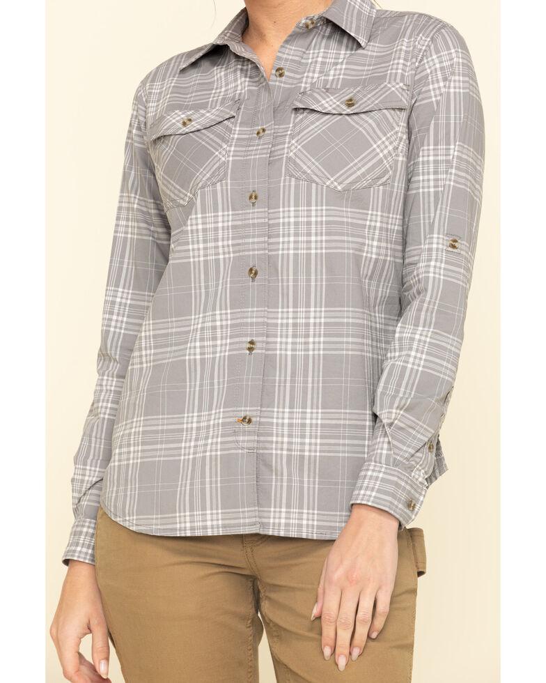 Carhartt Women's Asphalt Rugged Flex Plaid Long Sleeve Work Shirt , Grey, hi-res