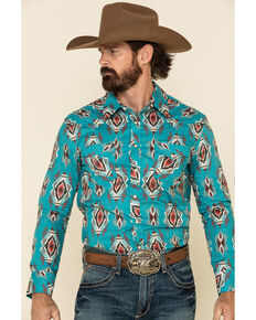 Rock & Roll Denim Men's Turquoise Aztec Print Long Sleeve Western Shirt , Turquoise, hi-res