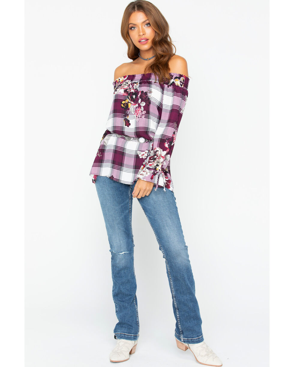 Ivory Love Women's Floral and Plaid Off The Shoulder Long Sleeve Top, Burgundy, hi-res