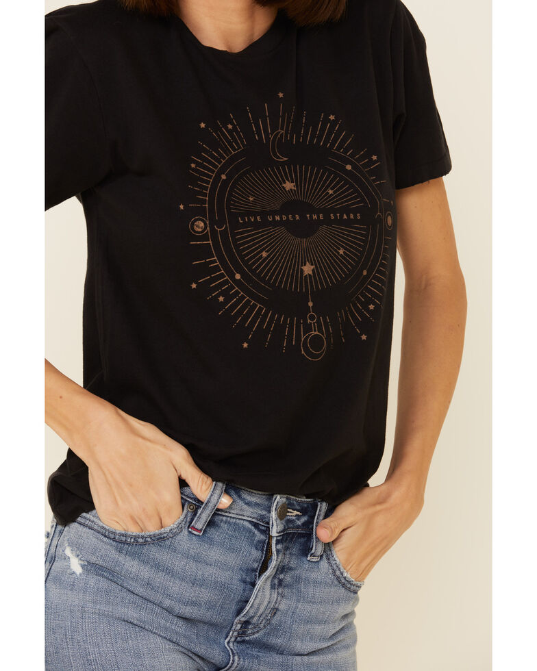 Wondery Women's Black Live Under The Stars Graphic Tee , Black, hi-res