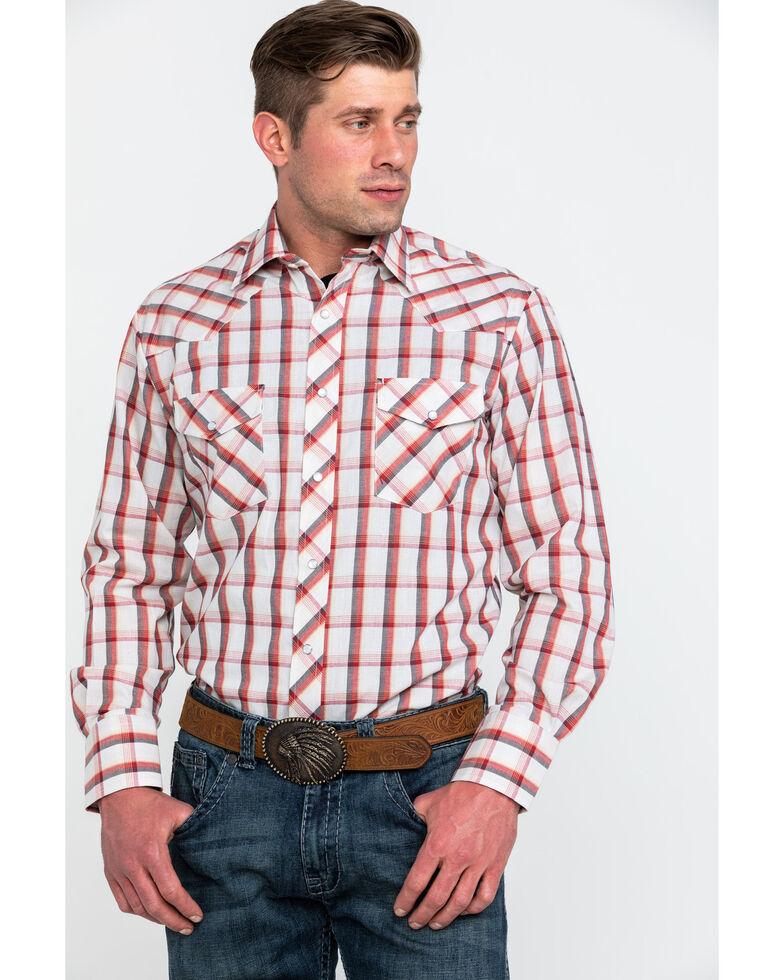 Roper Men's Large Classic Plaid Long Sleeve Western Shirt , Red, hi-res