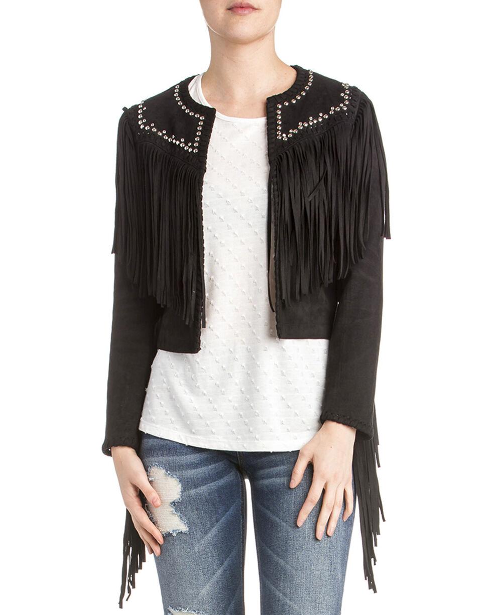 Miss Me Women's Embellished Fringe Jacket, Black, hi-res
