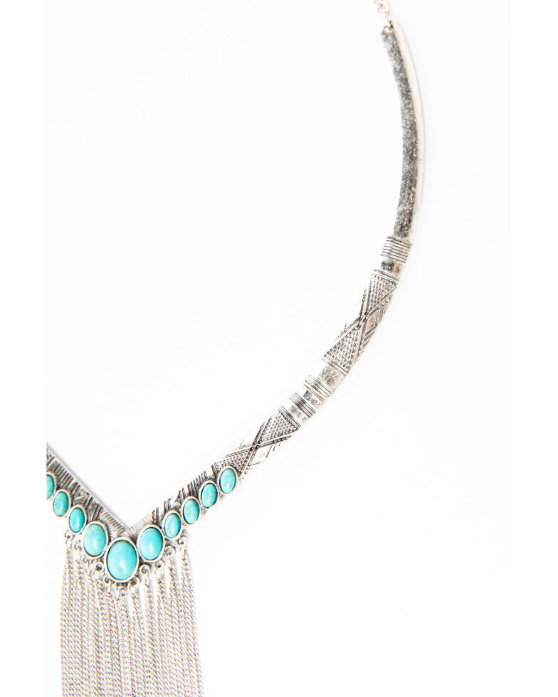 Shyanne Women's Blue Falls Collared Chain Fringe Necklace, Silver, hi-res