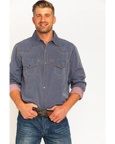 Ryan Michael Men's Navy Yarn Dye Patina Canvas Shirt , Navy, hi-res