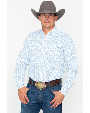 Wrangler 20X Men's Aztec Print Competition Advanced Comfort Long Sleeve Western Shirt, White, hi-res