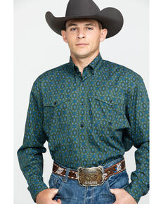Roper Men's Amarillo Meadow Paisley Print Long Sleeve Western Shirt , Green, hi-res