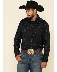 Rock & Roll Denim Men's Black Cactus Geo Print Long Sleeve Western Shirt , Black, hi-res