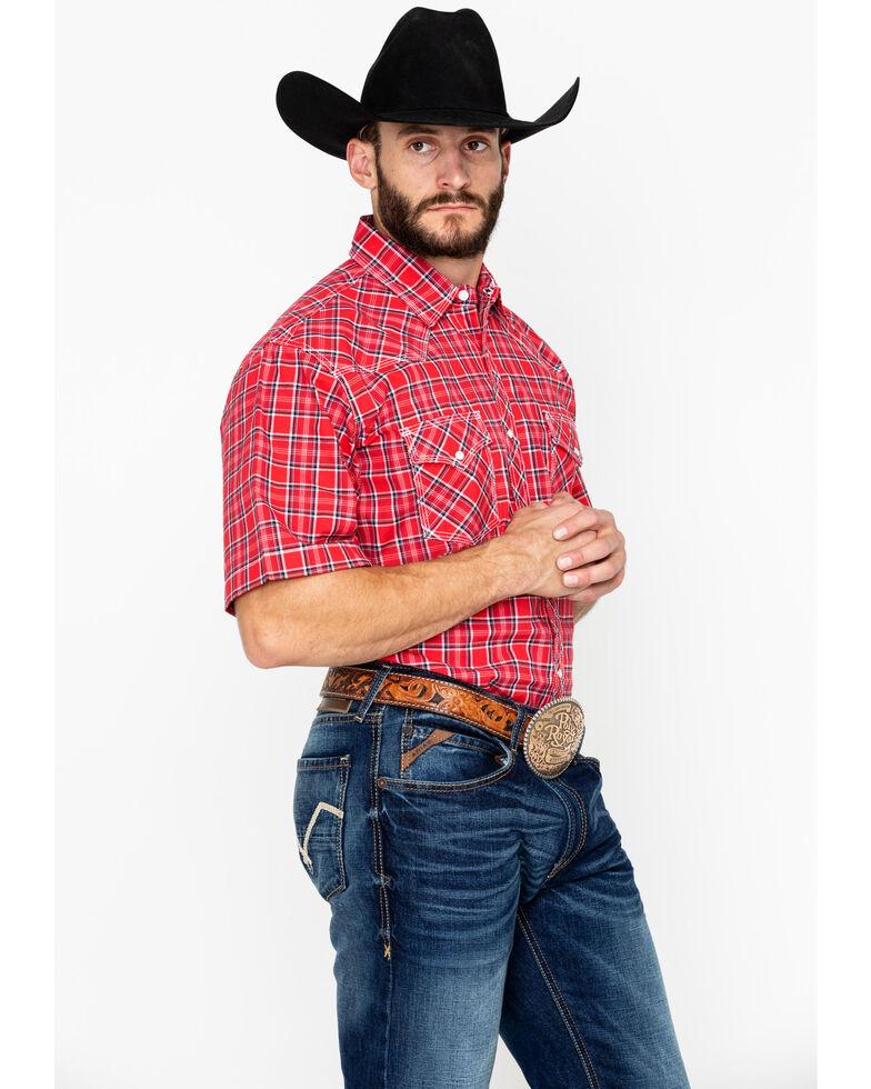 Wrangler 20X Men's Red Advanced Comfort Short Sleeve Western Shirt, Black/red, hi-res