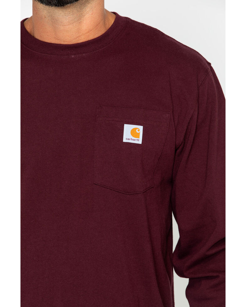 Carhartt Pocket Long Sleeve Work T-Shirt, Port, hi-res