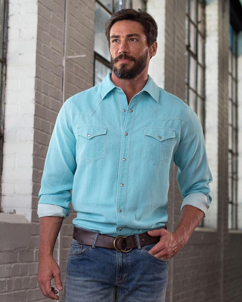 Ryan Michael Men's Waffle Texture 4-Needle Shirt, Light Blue, hi-res