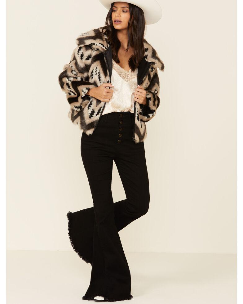Angie Women's Chevron Zip Short Coat, Black, hi-res