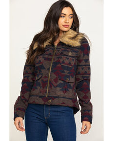 Stetson Women's Navy Aztec Blanket Jacket , Multi, hi-res