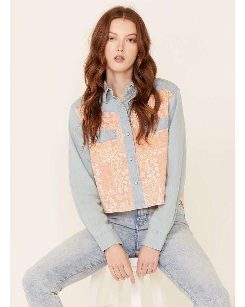 Wrangler Women's Chambray Floral Overlay Long Sleeve Snap Western Shirt , Mauve, hi-res