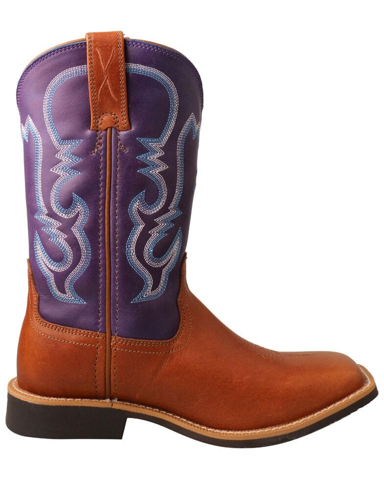 Twisted X Girls' Tan & Purple Top Hand Western Boots - Narrow Square Toe, Tan, hi-res