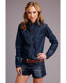 Stetson Women's Denim Snap Long Sleeve Western Shirt , Dark Blue, hi-res